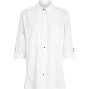 White loose fit poplin shirt
