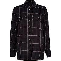 Black check loose fit shirt
