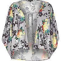 Grey floral print boxy kimono
