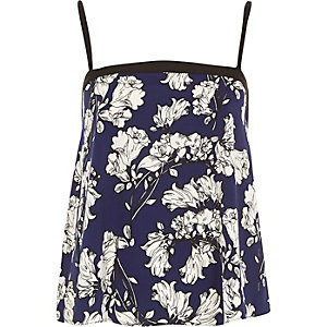 Blue floral print button back cami