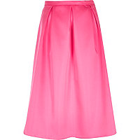 Pink sateen box pleat midi skirt