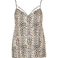 Brown animal print strappy cami top