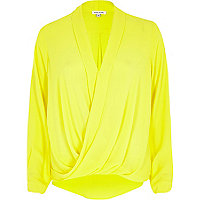 Yellow wrap blouse