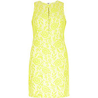 Lime floral lace A-line shift dress