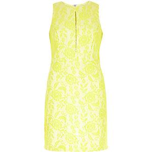 Lime floral lace A-line shift dress