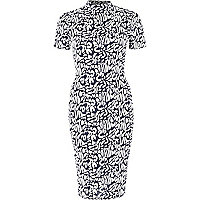 Navy animal print column dress