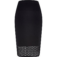 Black laser cut pencil skirt