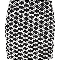 Black Chelsea Girl bow jacquard mini skirt