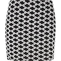 Black Chelsea Girl bow jacquard mini skirt