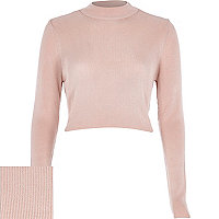 Light pink ribbed high neck crop top