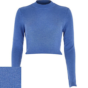Blue ribbed high neck crop top
