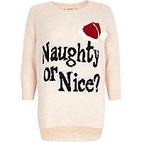 Pink naughty or nice Christmas jumper