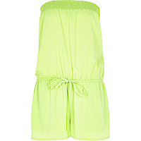 Lime ruched bandeau playsuit