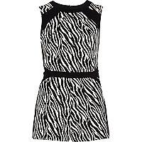 Black zebra print playsuit