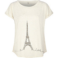 Beige Eiffel Tower print t-shirt