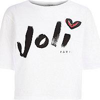 White joli print boxy t-shirt