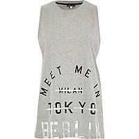 Grey meet me in Berlin print tank top