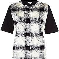 Cream faux fur check print t-shirt