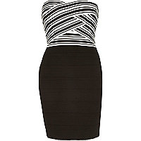 Black stripe bandeau bandage mini dress