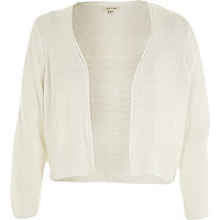 White 3/4 sleeve cropped cardigan