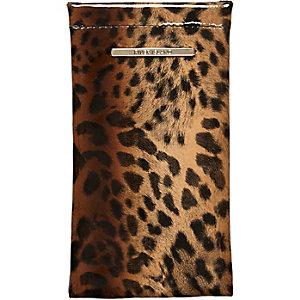 Brown leopard print snap sunglasses case