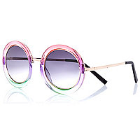 Pink ombre round sunglasses