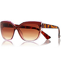 Purple tortoise shell square sunglasses