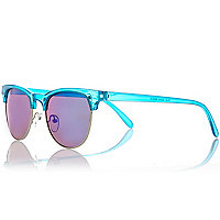 Blue retro mirror lens sunglasses