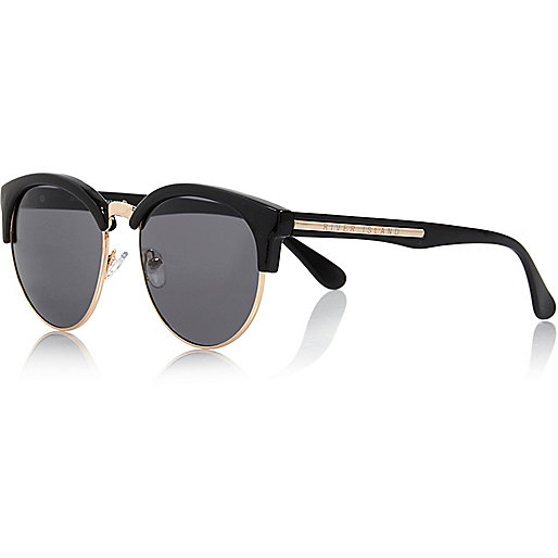 Black Half Frame Retro Sunglasses, River Island