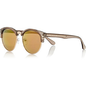 Grey half frame retro sunglasses