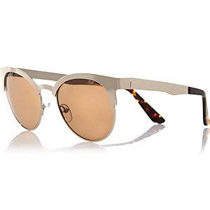 Gold tone metal retro sunglasses