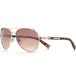 Brown tortoise shell aviator-style sunglasses