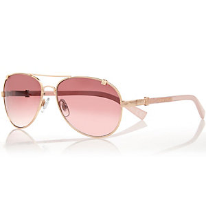 Gold and pink tinted aviator-style sunglasses