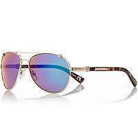 Gold tone mirrored lens aviator sunglasses