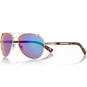 Gold tone mirrored lens aviator sunglasses