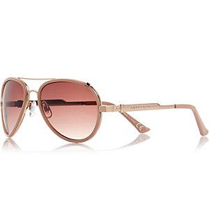 Pink contrast rim aviator sunglasses