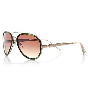 Khaki contrast rim aviator-style sunglasses
