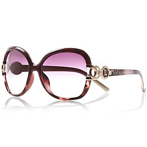 Pink large oversized square sunglasses