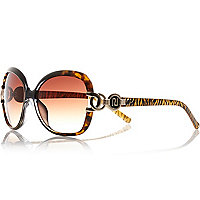 Brown animal print square sunglasses