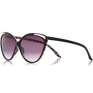 Black metallic insert cat eye sunglasses