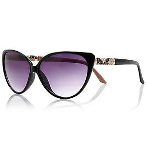Black snakeskin side cat eye sunglasses