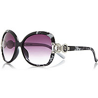 Black abstract print chain square sunglasses