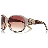 Brown glamorous diamante detail sunglasses