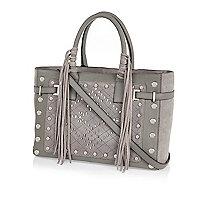 Grey leather stud fringed tote bag
