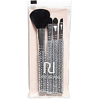 Silver diamante make up brush set