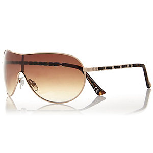 Gold tone chain arm visor sunglasses