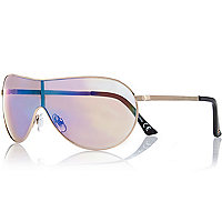 Gold mirror lens visor sunglasses