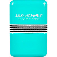 Blue salad nuts fruit lunch box