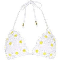 White 3D flower bikini top