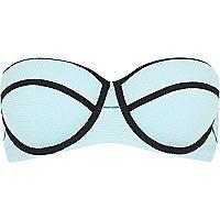 Aqua textured bustier bikini top